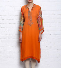 Neon Orange Crepe Embroidered Kurti