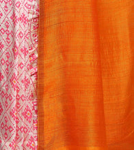 Orange & White Cotton Printed Saree