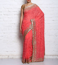 Pink Blended Georgette Embroidered Saree