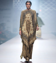 Green Silk Blend Printed Palazzo With Cape And Inner Set