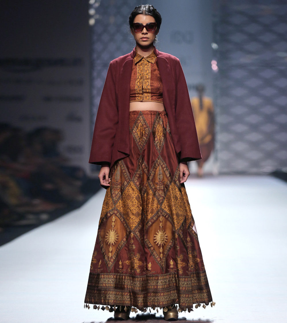 Maroon Silk Blend Printed Skirt With Blouse