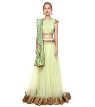 Mint Green Banarasi Chanderi Booti Embroidered Lehenga Set