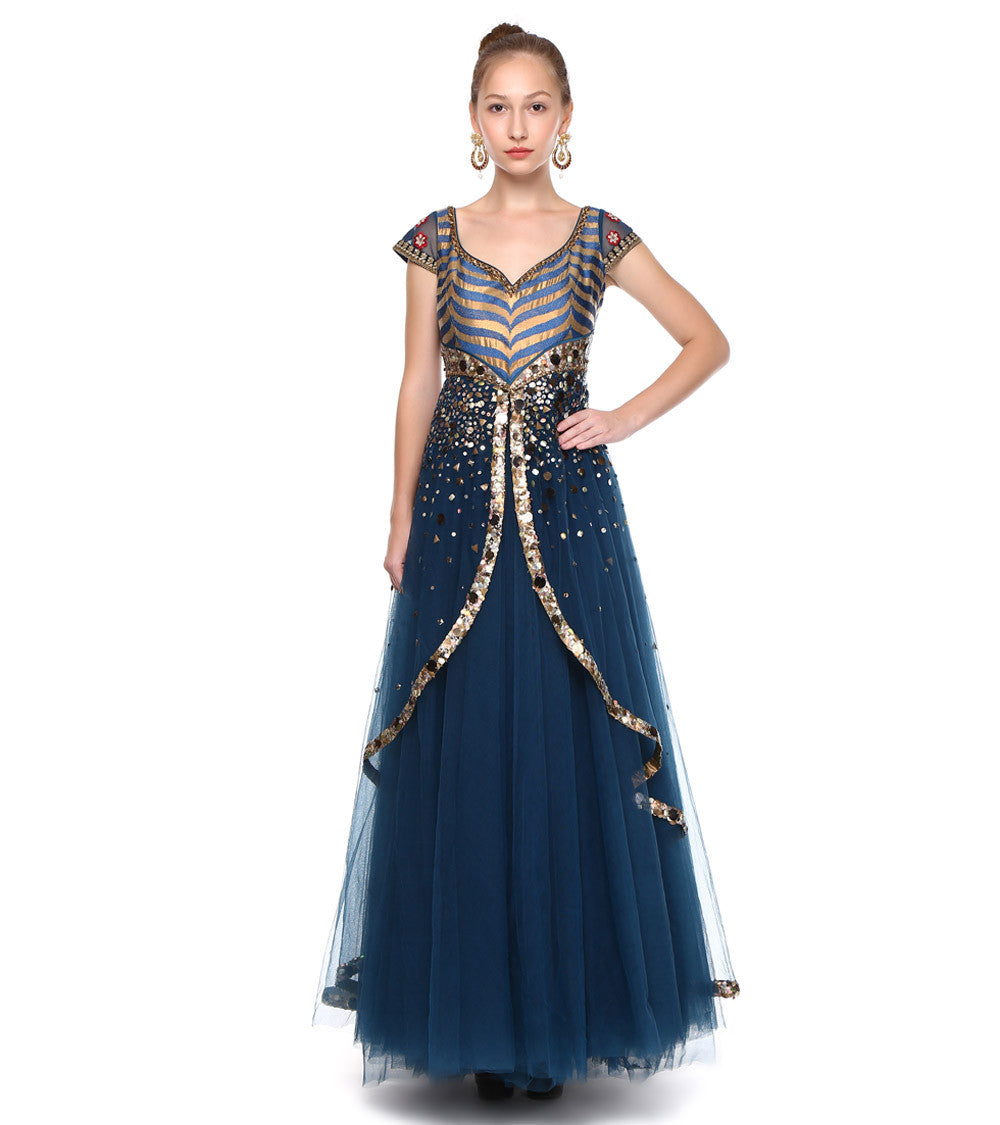 Blue Poly Satin Embroidered Gown