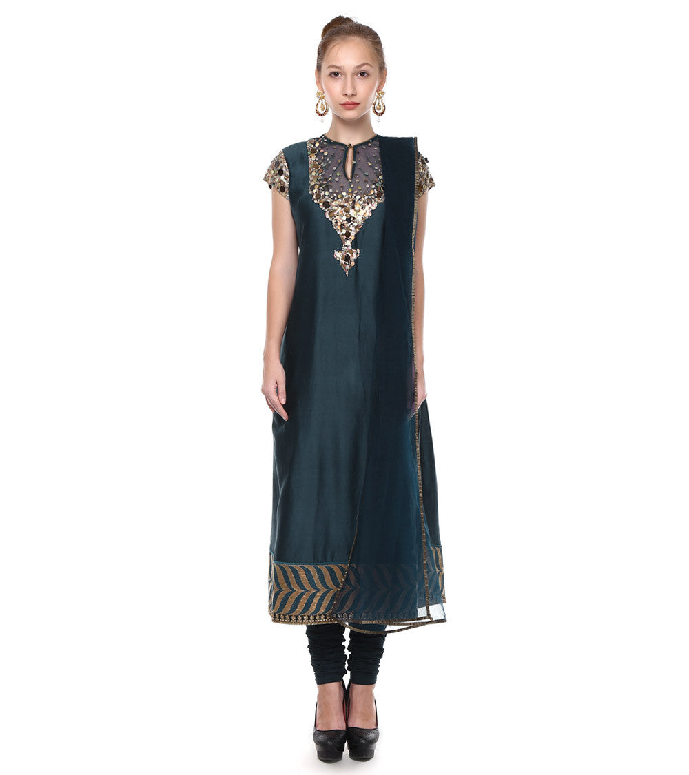 Blue Chanderi Embroidered Churidar Suit