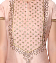 Pink Chanderi Embroidered Top With Skirt