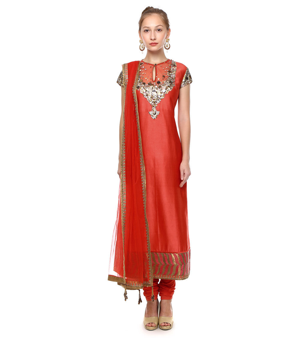 Red Chanderi Embroidered Churidar Suit