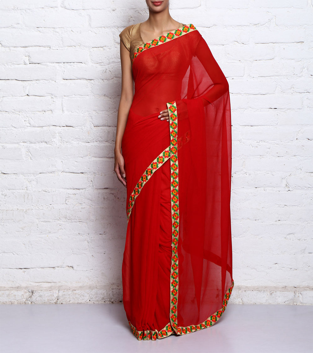 Red Georgette Embroidered Saree