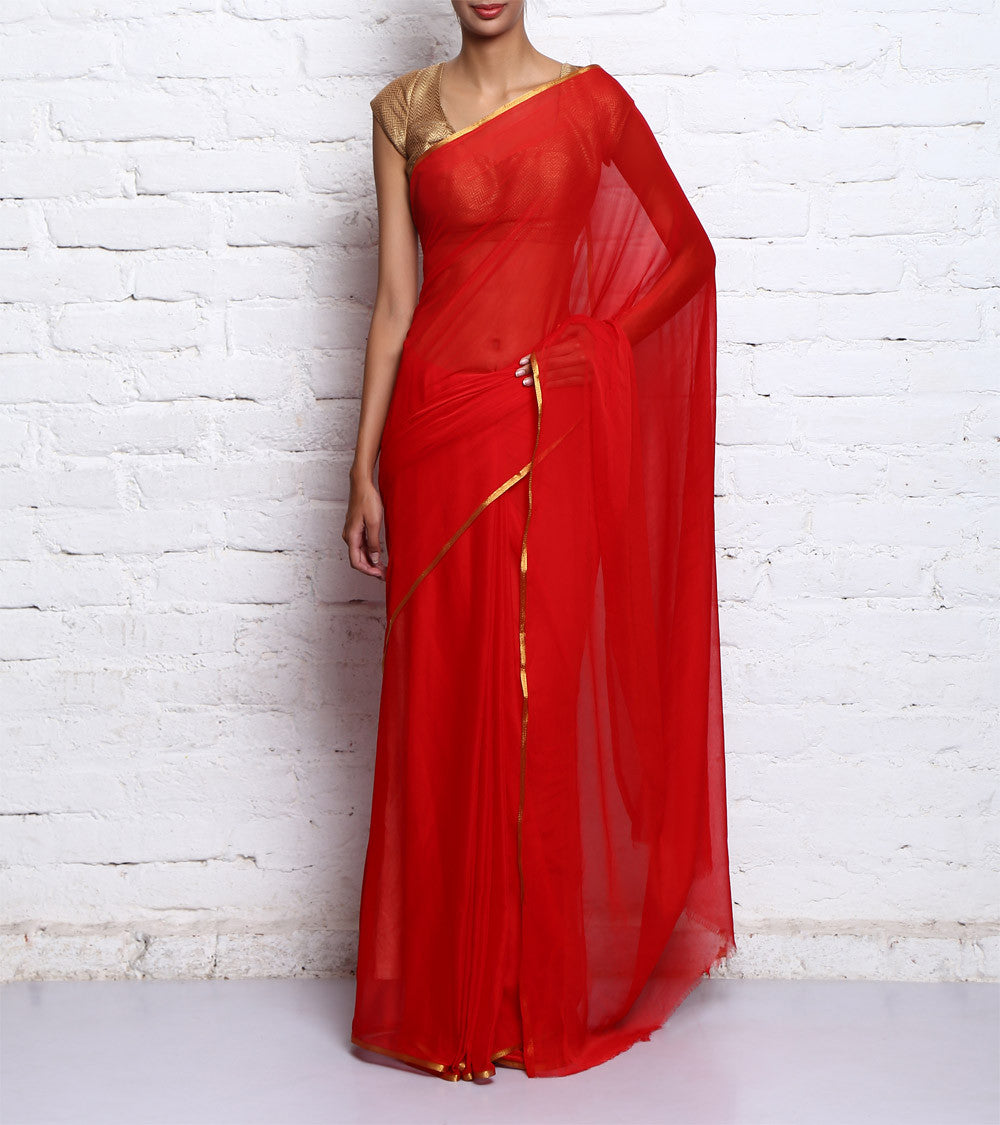Red & Golden Georgette Saree