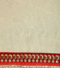Red & Cream Georgette Embroidered Saree