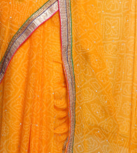 Yellow Georgette Embroidered Saree