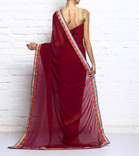 Magenta & Blue Georgette Embroidered Saree