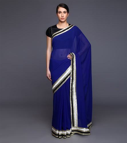 Blue Georgette Sequined Saree