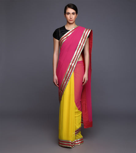 Pink & Yellow Georgette Sequined Saree