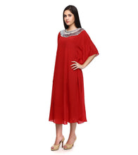 Red Pure Georgette Embroidered Kaftan
