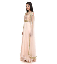 Pink Pure Crepe Embroidered Anarkali Suit