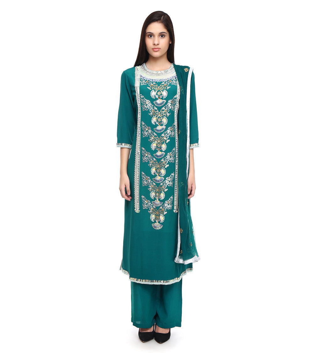 Dark Green Pure Crepe Embroidered Churidar Suit