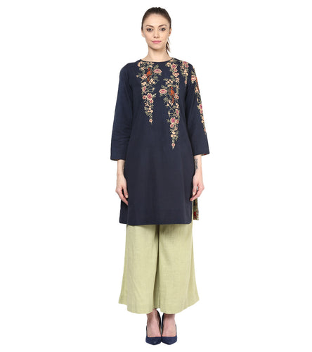 Blue Cotton Embroidered Kurta With Palazzos