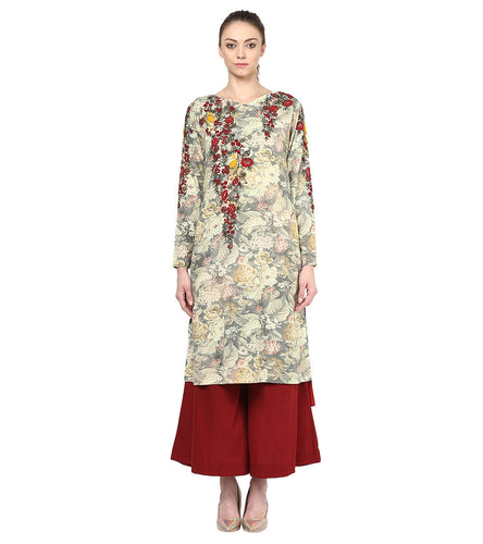 Grey And Maroon Cotton Embroidered Kurta With Palazzos