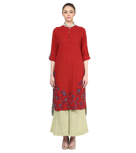 Red Cotton Embroidered Kurta With Palazzos