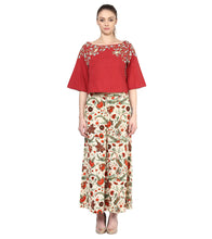 Red Cotton Embroidered Top Set
