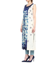 Blue Khadi Printed Tunic With Pants