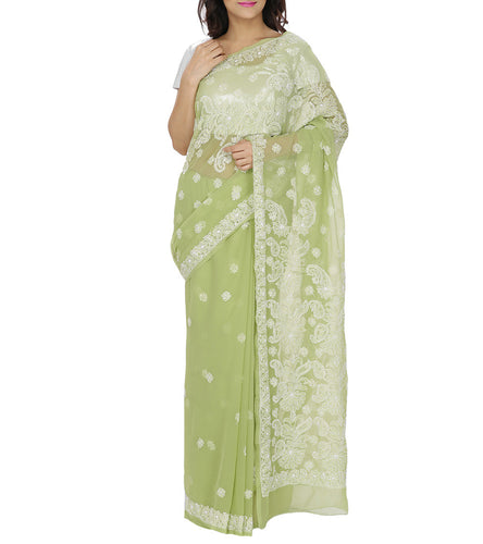 Green Embroidered Georgette Saree