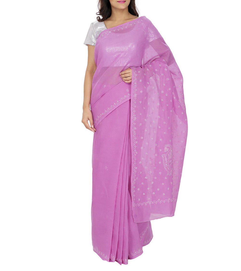 Pink Embroidered Cotton Saree