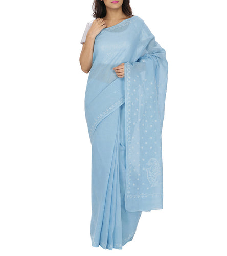 Blue Embroidered Cotton Saree