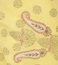 Yellow Embroidered Cotton Saree