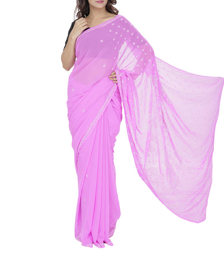 Pink Embroidered Georgette Saree