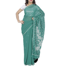 Green Georgette Chikankari Saree With Blouse Piece