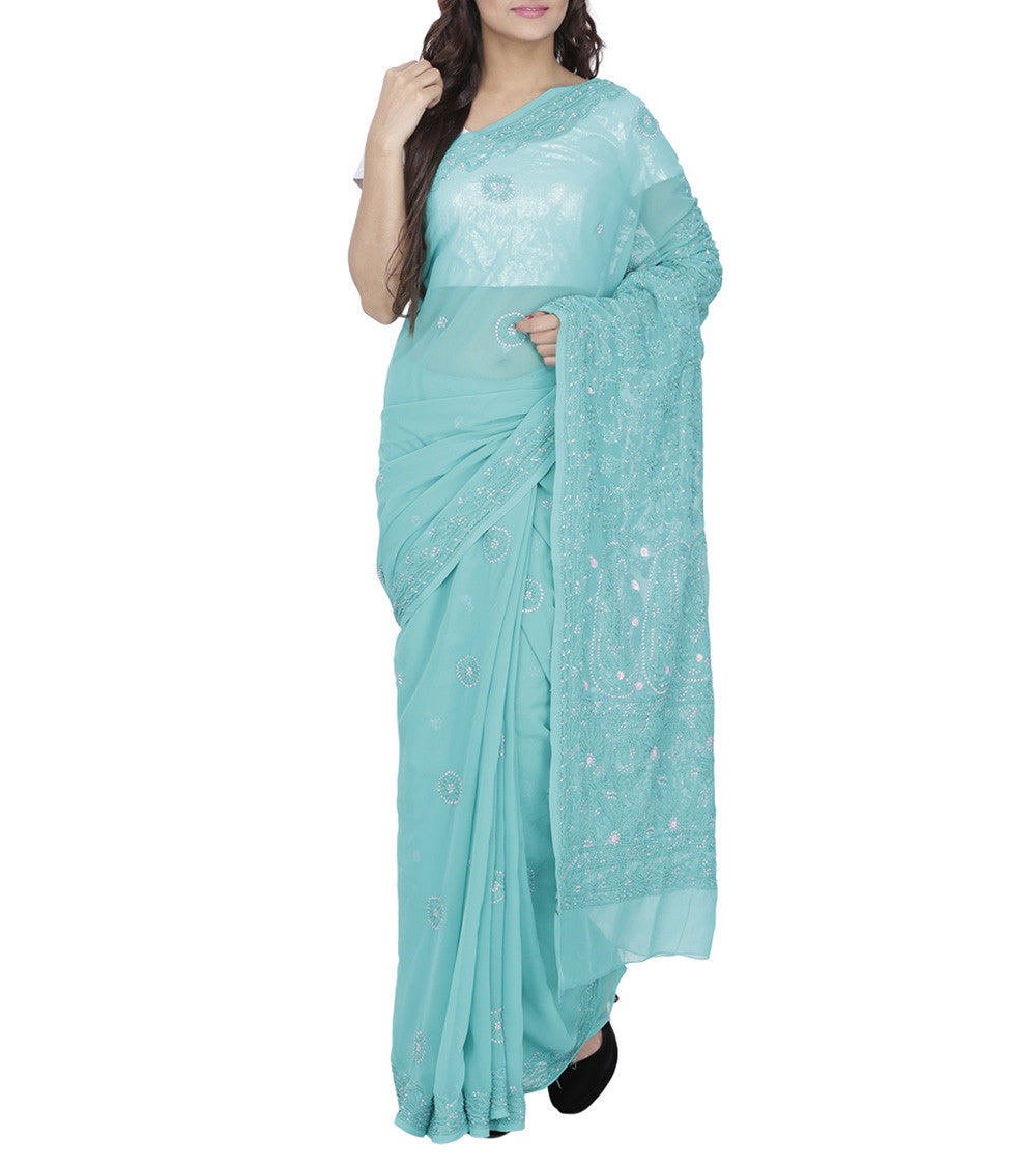 Blue Georgette Chikankari Saree With Blouse Piece
