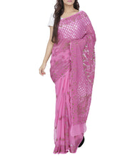 Pink Georgette Chikankari Saree With Blouse Piece