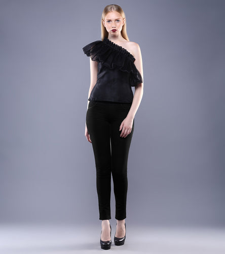 Black Silk & Organza Ruffled Top