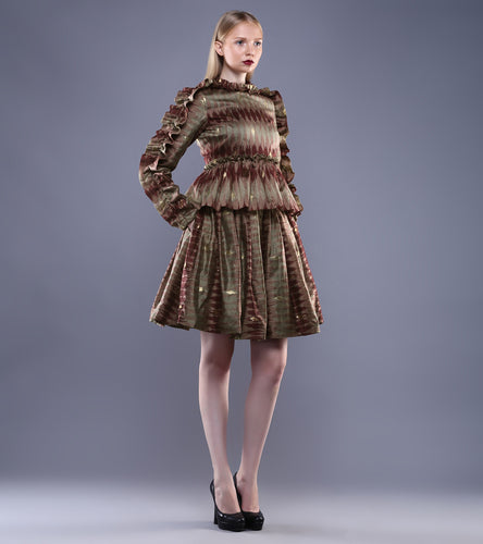 Maroon & Beige Chanderi Ikat Skirt And Ruffled Top