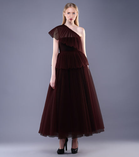 Maroon Tulle Ruffled Top With Skirt