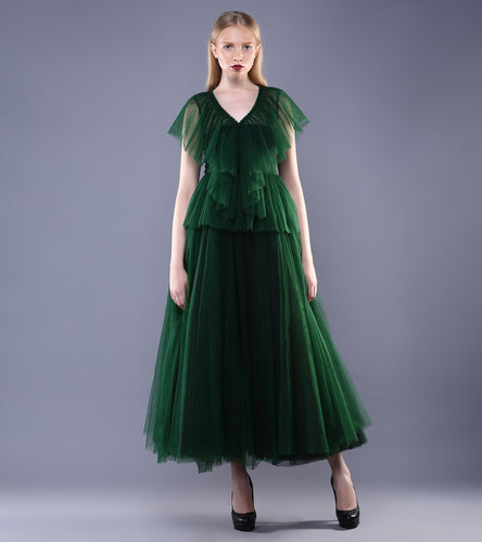 Green Tulle Ruffled Top With Skirt