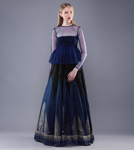 Royal Blue & Black Tulle & Chanderi Ikat Two Piece Maxi Dress