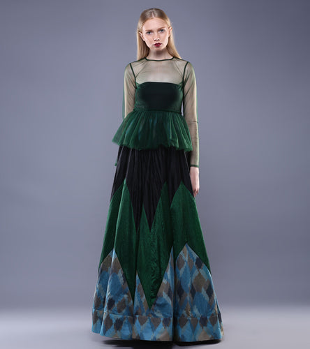 Bottle Green & Black Tulle & Chanderi Ikat Two Piece Maxi Dress