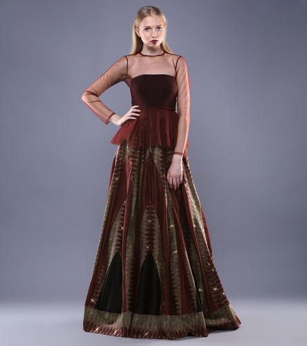Maroon & Black Tulle & Chanderi Ikat Two Piece Maxi Dress