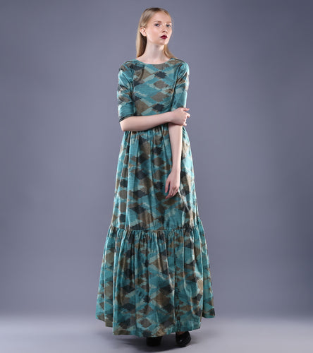 Blue Chanderi Ikat Dress