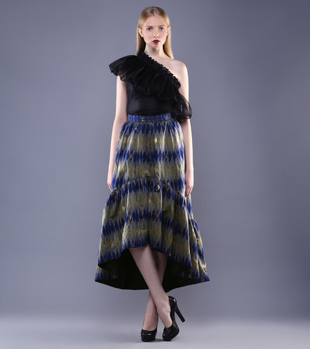 Black & Royal Blue Silk, Organza & Chanderi Ikat Top With Skirt
