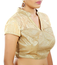 Golden Net Embroidered & Gota Work Saree Blouse