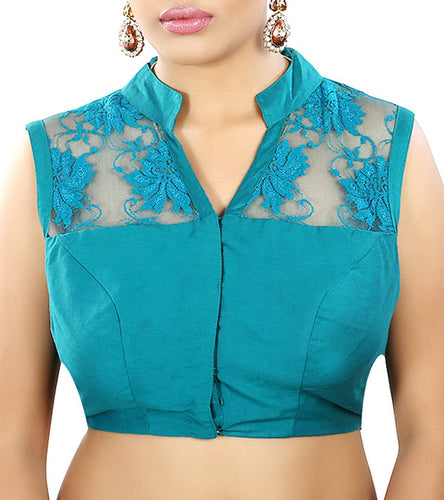 Green Raw Silk Embroidered Saree Blouse