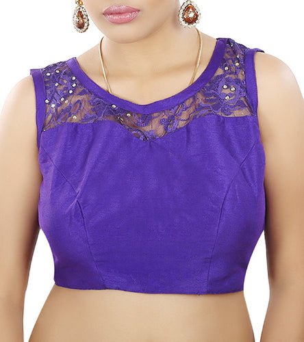 Purple Raw Silk Embroidered Saree Blouse