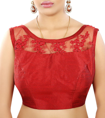 Red Raw Silk Embroidered Saree Blouse