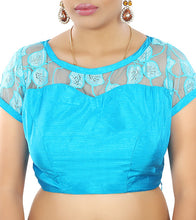 Blue Raw Silk Embroidered Saree Blouse