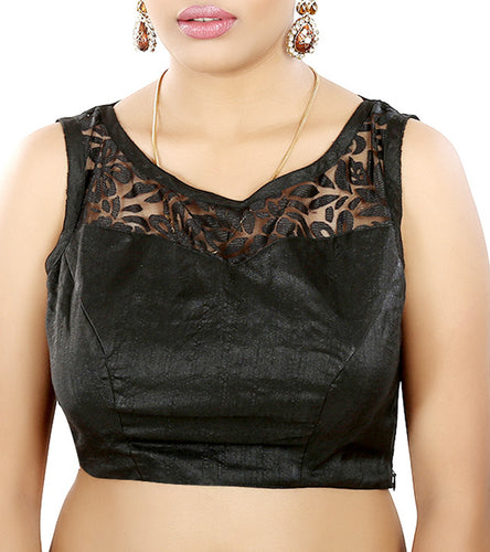 Black Raw Silk Embroidered Saree Blouse