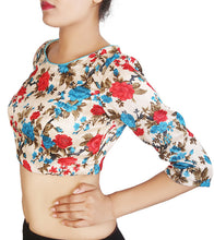 Off White, Blue & Red Floral Printed Saree Blouse