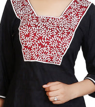 Black Cotton Jacqaurd Embroidered Kurti